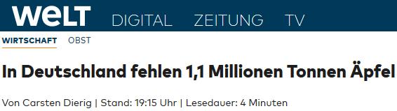 In Deutschland fehlen 1,1 Millionen Tonnen Äpfel