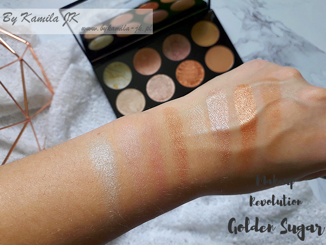 Makeup Revolution paletki różów Blush Palette Golden Sugar swatch