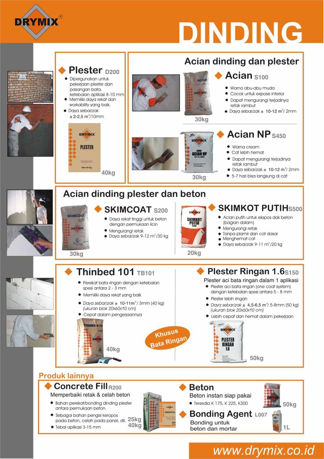 Mortar Instan Drymix untuk Aplikasi Dinding