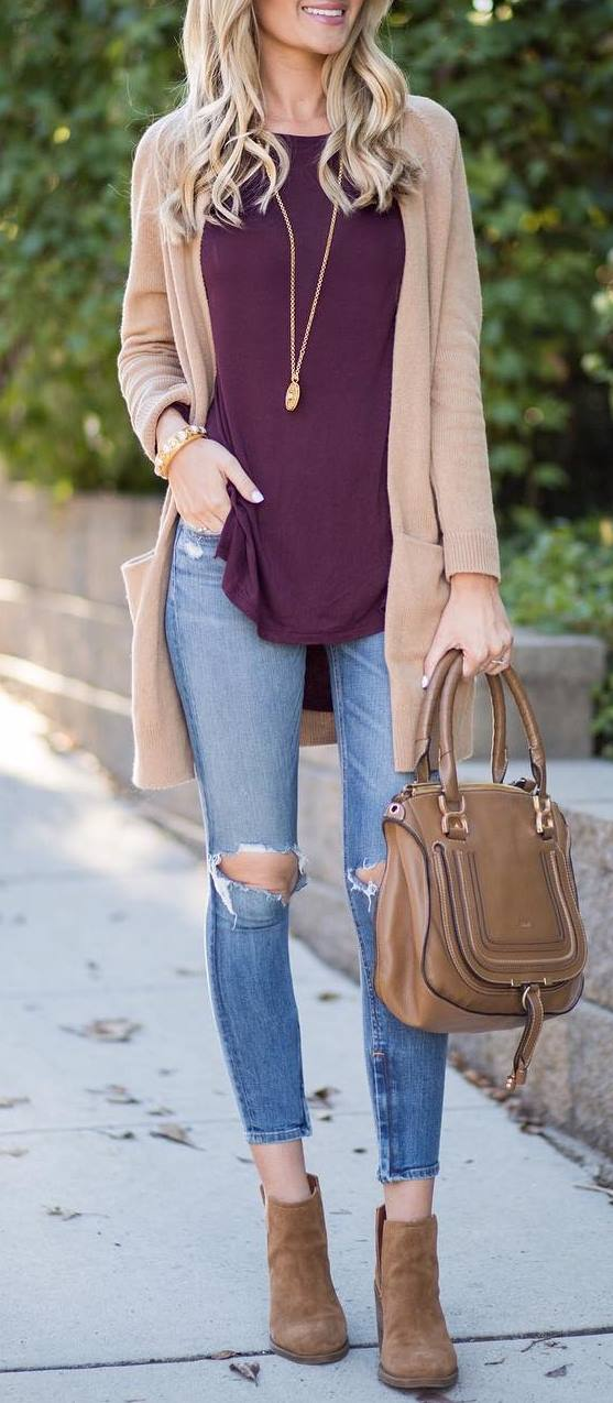 fall fashion trends | nude cardi + bag + purple top + ripped jeans + boots