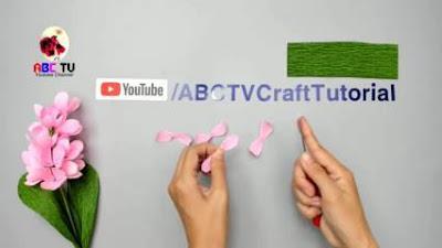 cara membuat bunga dari kertas krep dan lidi besi