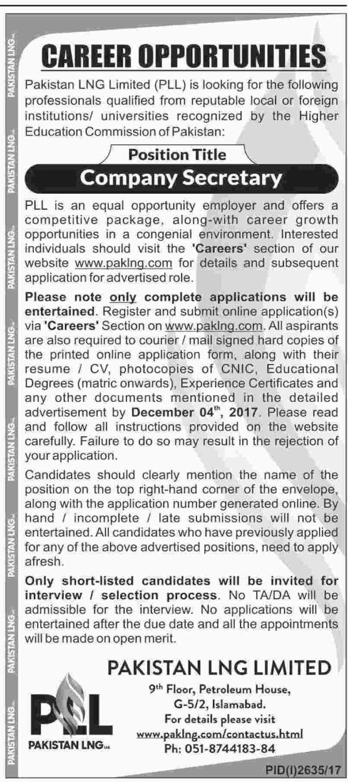 PLL Islamabad Jobs In LNG Limited Nov 2017