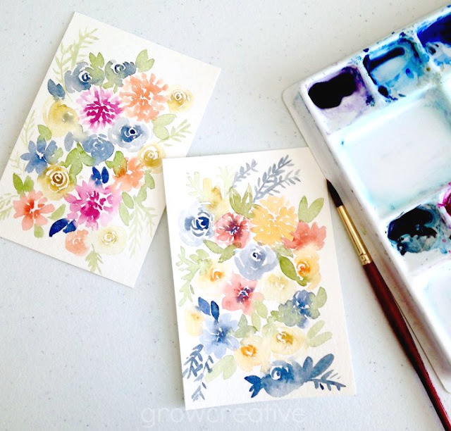 watercolor floral designs by Grow Creative Blog