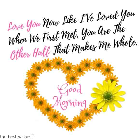 good morning my love with yellow roses heart