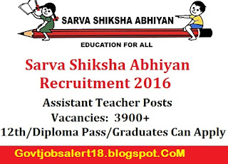 Sarva Shiksha Abhiyan Recruitment 2016 For 3900+ Assistant Teacher ...
