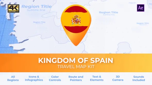 VIDEOHIVE SPAIN MAP - KINGDOM OF SPAIN TRAVEL MAP