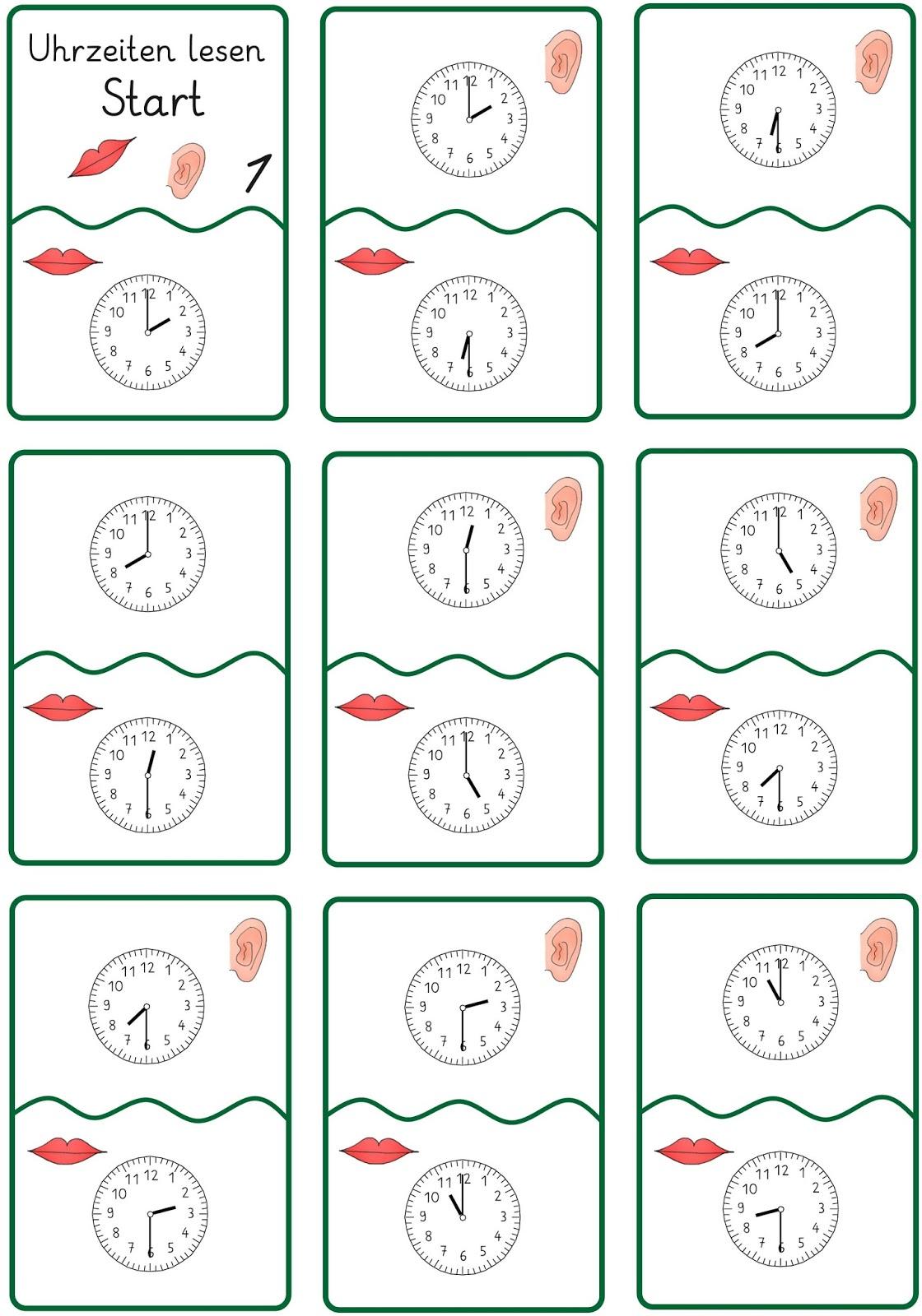 Arbeitsblatt Uhrzeit Volle Und Halbe Stunden : Lernstübchen uhrzeiten lesen ein lesespiel