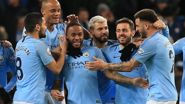 Manchester City Raheem Sterling, Bernardo Silva, Vincent Company and Gundogan