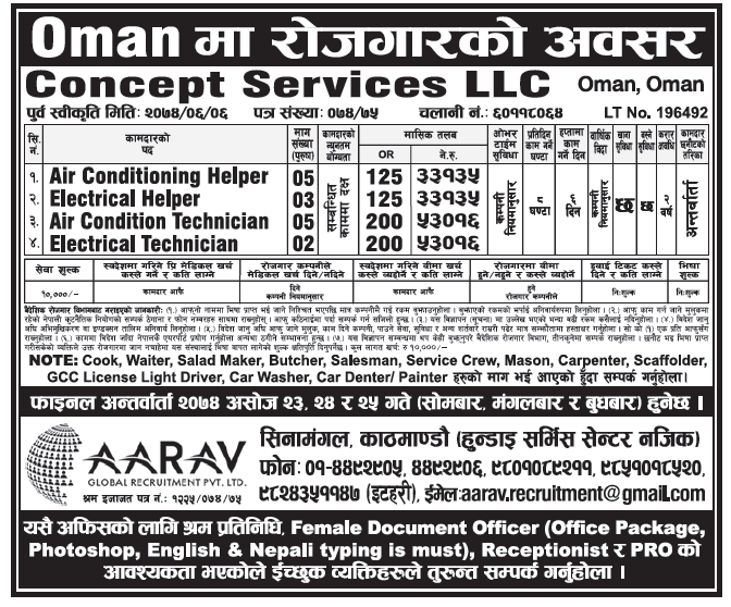 Jobs in OMAN for Nepali, Salary Rs 53,016