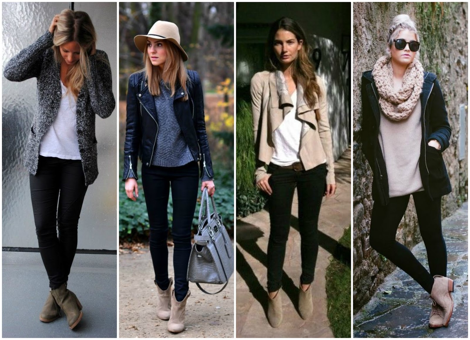 Outfit planning 4 ways to wear taupe booties on the for What goes with taupe