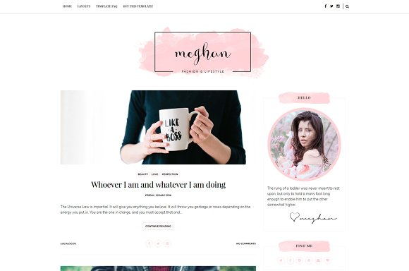 Meghan Feminine Responsive Blogger Templates