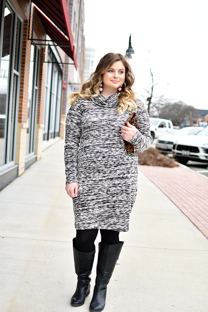 cold weather date night sweater dress black opaque tights black riding boots blonde ombre curled hair baublebar crispin drop earrings pink madly yours collection calf hair clutch clare v leopard