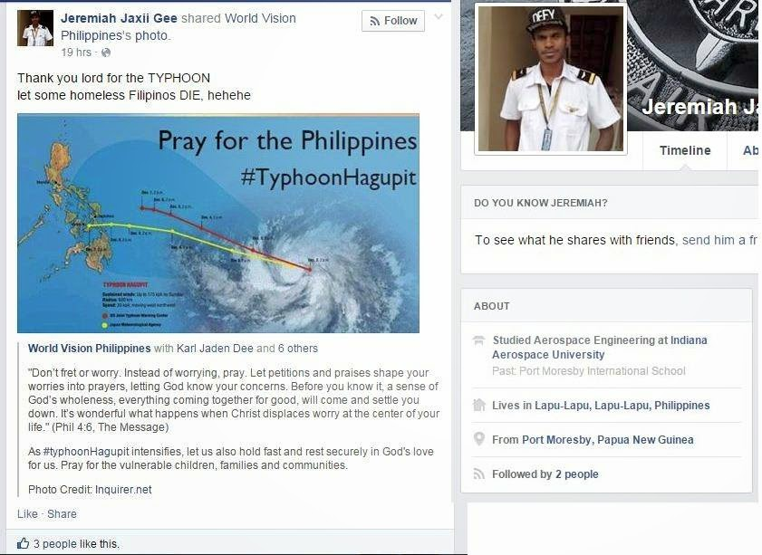 Man Thankful for Typhoon, Wishes That 'Homeless Filipinos Die'