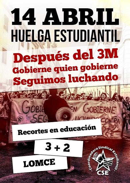 La Coordinadora Sindical Estudiantil convoca Huelga de estudiantes el 14 de abril
