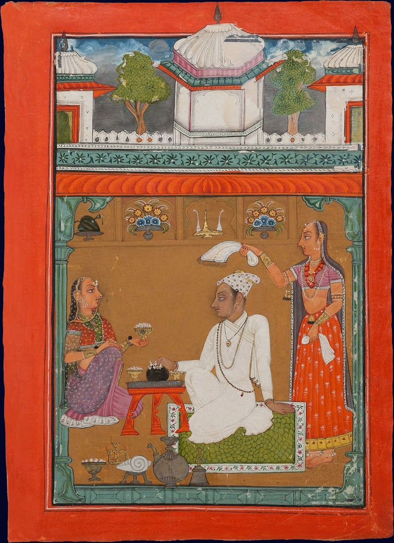 An Illustration from a Ragamala series, Raga Mistanga, Son of Malkos - Pahari Painting, c. 1700-1720