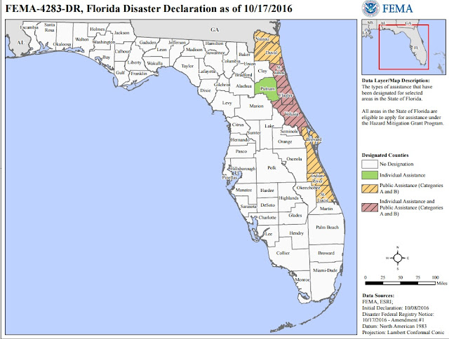 FEMA Disaster Aid For Florida Counties Map