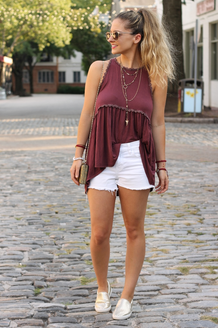 Garnet Tank top with White cutoff denim shorts and gold slip on Sneakers for FSU game