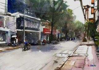 ベトナムの街角 水彩画 Ho Chi Minh  Watercolor