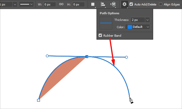 Rubber Band for Pen Tool in Photoshop CC 2018