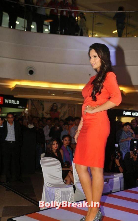 Tennis Player Sania Mirza Stills, Sania Mirza Hot Pics in Red Midi Dress