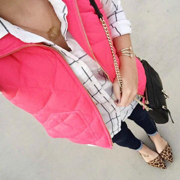 pink puffer vest, leopard flats