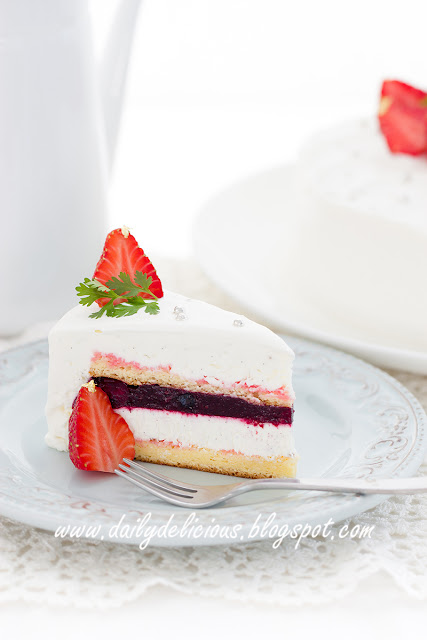 Mixed Berry Chiffon Cake With Almond Cream Cheese Frosting