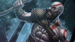 God of War 4 Kratos Sketch 1920x1080