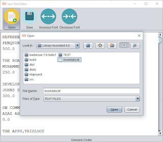 Java Text Editor Open new file window
