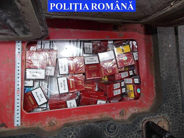 Două persoane reținute, un autovehicul indisponibilizat și aproape 130.000 de țigarete de contrabandă confiscate de polițiști în urma unui control în trafic