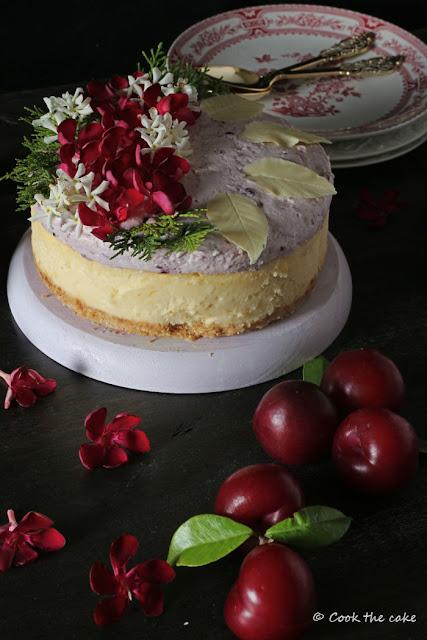white-chocolate-cheesecake, plum-mousse, mousse-de-ciruelas