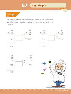 Apoyo Primaria Desafíos Matemáticos 4to. Grado Bloque III Lección 57 Algo simple