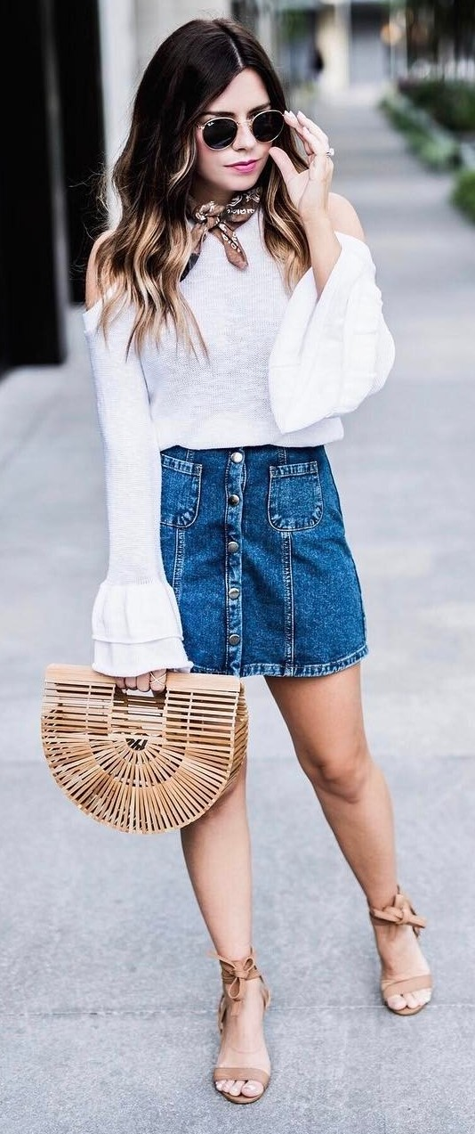 pretty cool outfit: white top + denim skirt + bag
