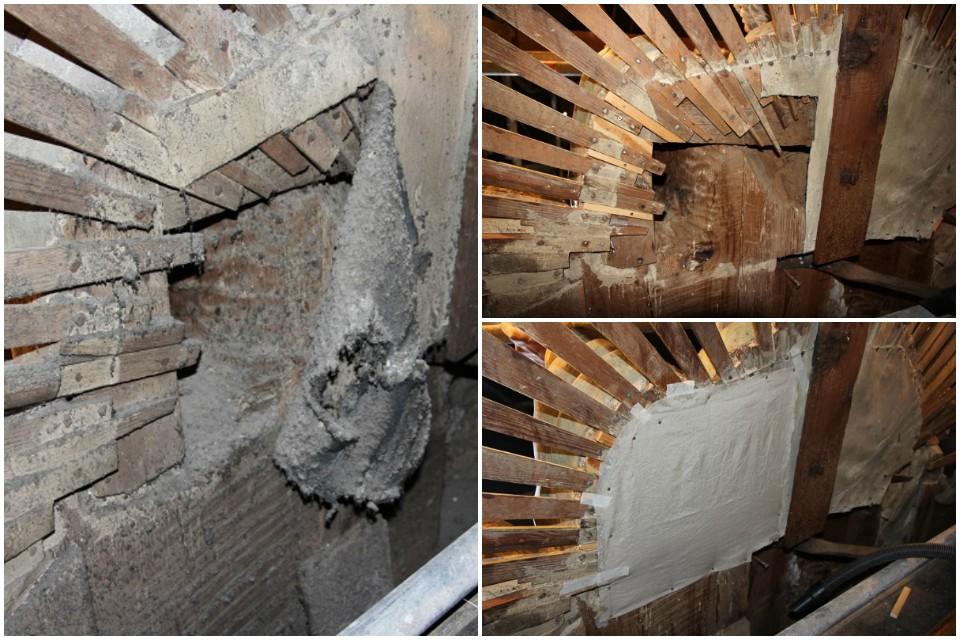 Proceso de consolidación de la estructura del retablo
