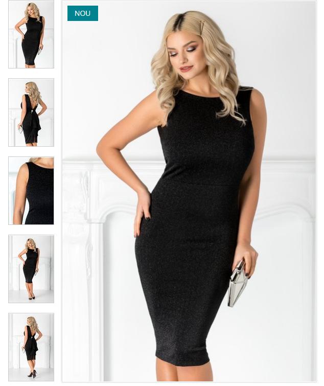 rochie neagra eleganta  spate decupat cu fronseuri  volan din talie pana la baza  brosa maxi