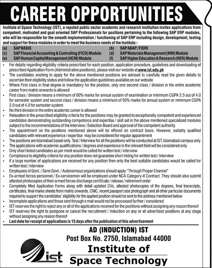 Institute of Space Technology Jobs March 2019 IST Islamabad
