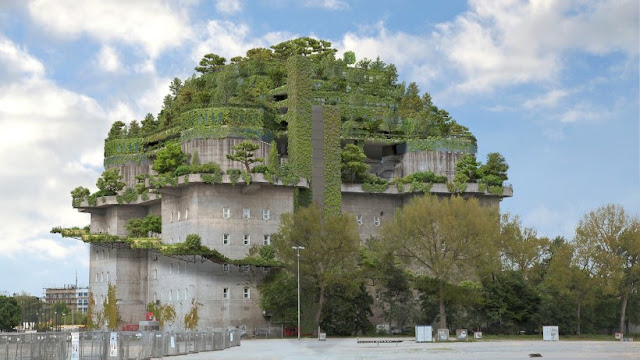Das Dach des Feldstraßenbunkers wird grün