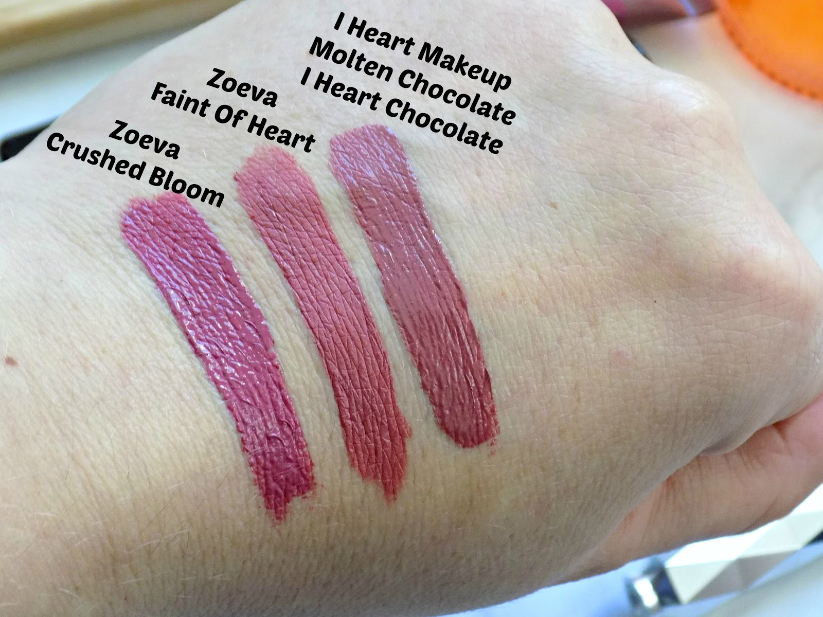 Zoeva liquid lipsticks and I Heart Makeup Molten Chocolate liquid lipstick swatches