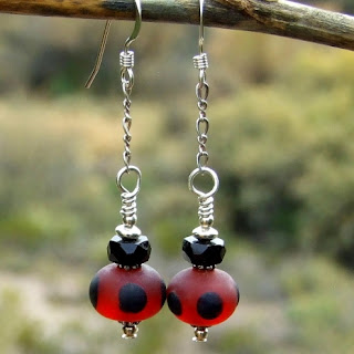 red and black lampwork earrings for women