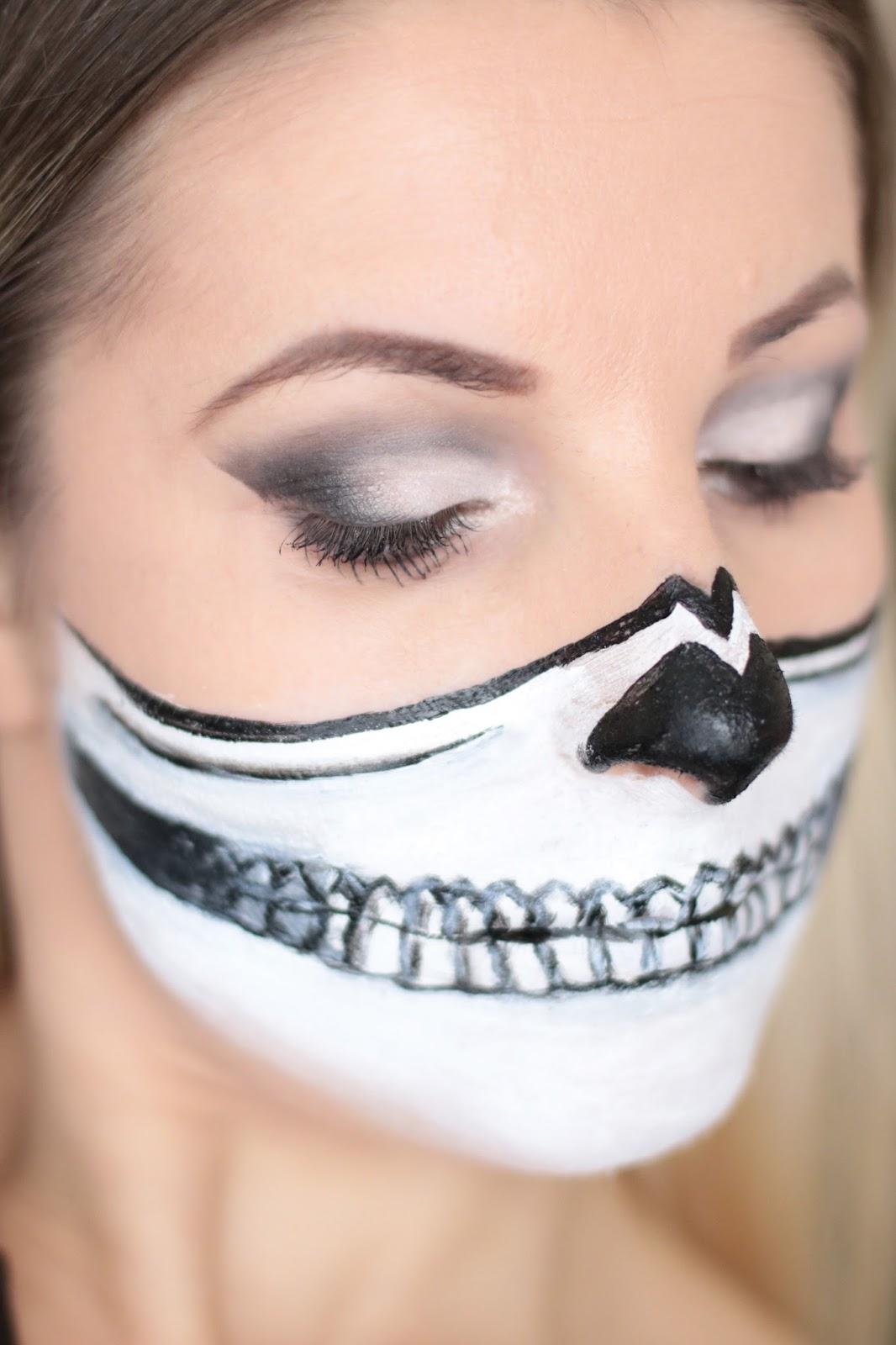 Halloween Makeup - Half Skull