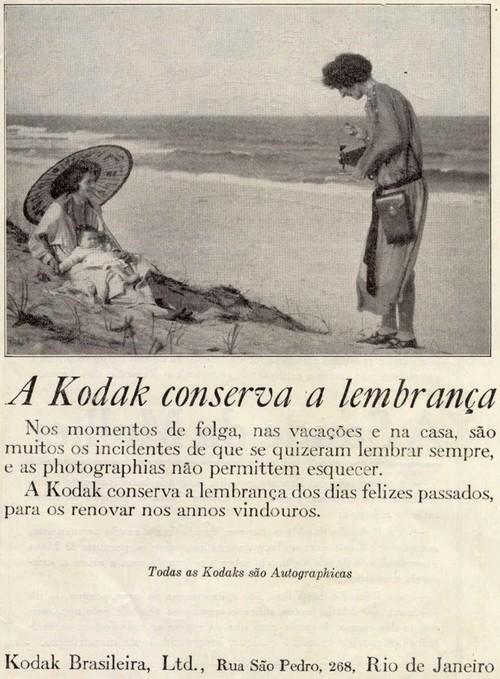 Propaganda antiga da Kodak em 1927 enaltecendo a prática da fotografia