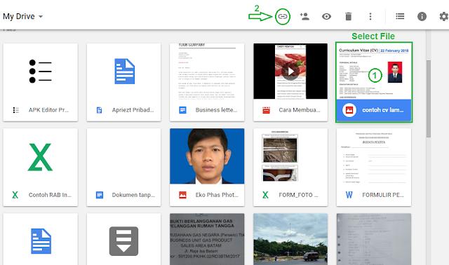 Cara share link file google drive - langkah 1