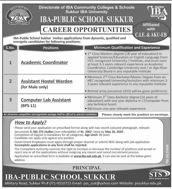 IBA Public School Jobs 2020