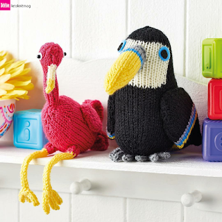 Flamingo and toucan knitting pattern by Nicky Fijalkowska