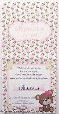 convite artesanal aniversário infantil ursinha urso floral rosa provençal delicado menina 1 aninho bebê