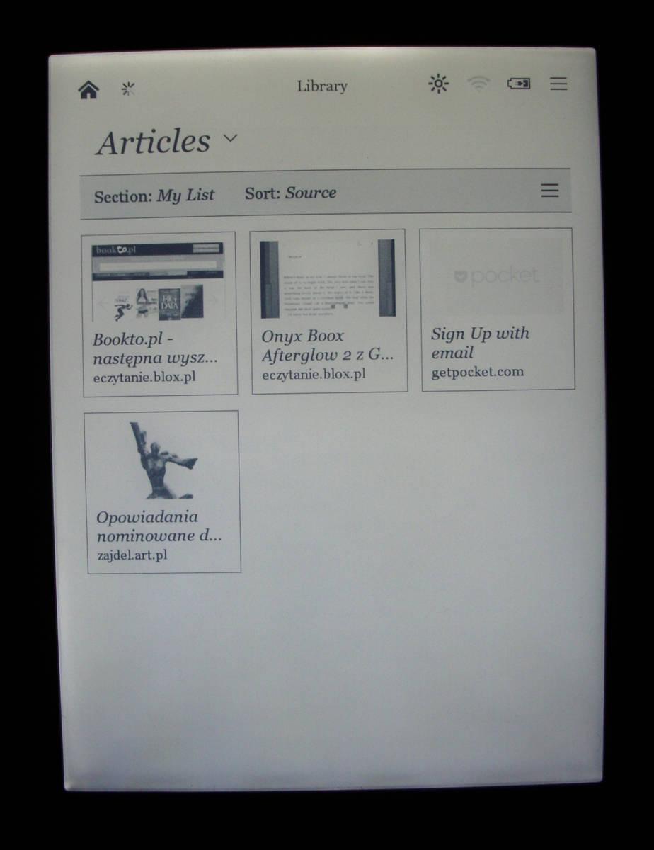 Kobo Glo - przegląd artykułów z aplikacji Pocket