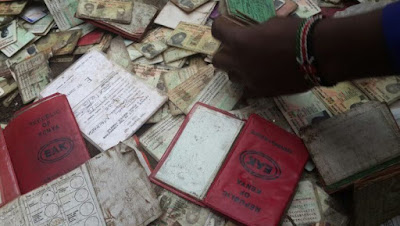 Driving licenses found dumped in Nairobi. PHOTO | Courtesy