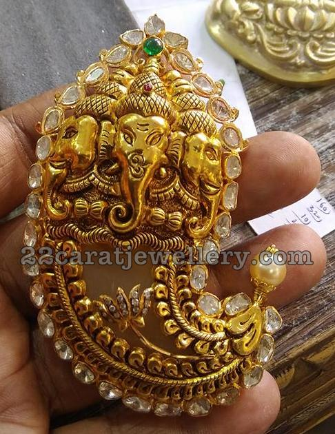 Ganesh Embossed Tiger Claw Pendant