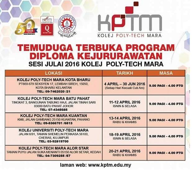 Diploma Kejururawatan KPTM Sesi Julai 2016