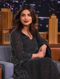 Priyanka Chopra in a Polka Dot Full Length Transparent Gown lovely new Hairstyle at The Tonight Show Jimmy Fallon