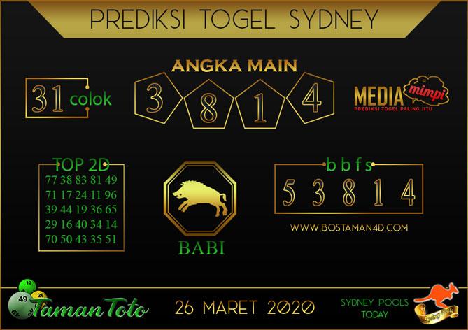 Prediksi Togel SYDNEY TAMAN TOTO 26 MARET 2020